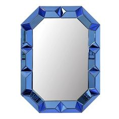 Bungalow 5 Romano Mirror with Mirrored Wood Frame in Sapphire Blue Blue Wall Mirrors, Wood Mirror, Mirror Art, Beveled Mirror, Octagon Mirror, Framed Mirrors, Rustic Mirrors, Wood Wall, Bungalow 5
