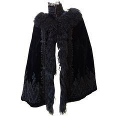 Preowned 1890s Victorian Era Silk Velvet Fur Cape ($2,800) ❤ liked on Polyvore featuring outerwear, black, capes, fur cape coat, embroidered cape, cape coats, velvet cape and beaded cape