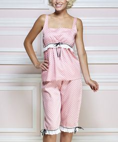 Cute PJs - looks easy to make. Another great find on #zulily! Pink & White Deco Dot Pajama Set by Jessie Steele #zulilyfinds