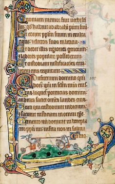 Macclesfield Psalter. Notice the rabbit and dog jousters!