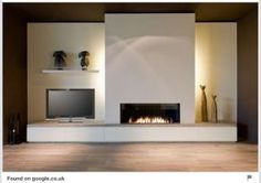 Modern Fireplace Decor, Contemporary Fireplace Designs, Linear Fireplace, Home Fireplace, Fireplace Surrounds, Contemporary Interior, Fireplace Ideas, Contemporary Wallpaper, Modern Fireplaces