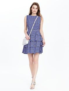 Tile Print Ruffle Dress | Banana Republic