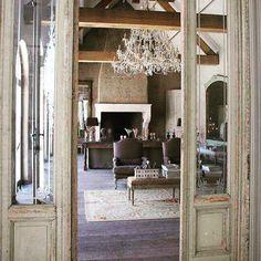 "44 Likes, 2 Comments - @farmhouse_beautiful on Instagram: ""So beautiful  #farmhousestyle #decor #chandelier #interiordesign #woodbeams #walkinfireplace"""