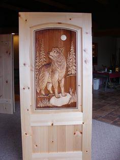 65)wolf in pine door
