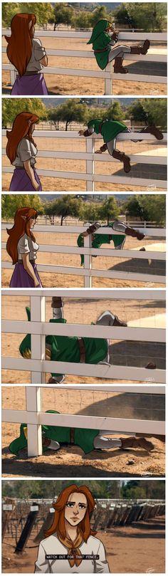 Link klettert über den Zaun.. Zumindest Versucht er es<