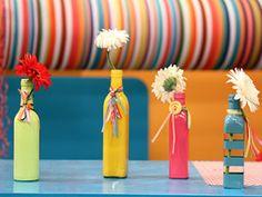 Como hacer un florero de botella de vidrio