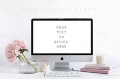 Styled Desktop Mockup, pink & White by Her Creative Studio on @creativemarket