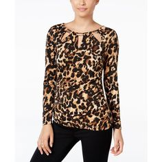 Thalia Sodi Animal-Print Cutout Blouse, ($26) ❤ liked on Polyvore featuring tops, blouses, leopard, leopard top, animal print blouse, cutout tops, cut-out tops and cut out blouse