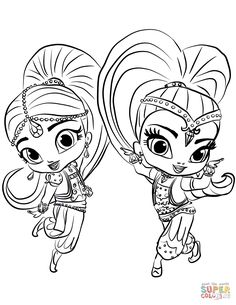 shimmer and shine coloring pages.html