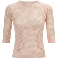 Alexander Lewis Misty Pink Cotton Paulie Jumper ($89) ❤ liked on Polyvore featuring tops, sweaters, misty pink, short sleeve tops, summer jumpers, pastel sweaters, cotton jumpers and jumpers sweaters