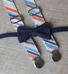 Cream Bow Tie and Blue Orange Stripe Suspenders set ( Men, boys, baby, toddler, infant Suspender and Bowtie ) Navy Bow Tie, Suspenders For Boys, Orange Pants, Rings For Girls, Normal Wear And Tear, Fabric Samples, Baby Month By Month, Blue Orange, Sons