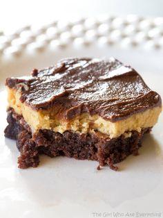 Peanut Butter Truffle Brownies - they taste like a buckeye on top of a brownie.