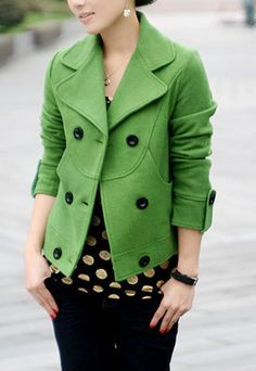 Office Lady Fashion Splicing Slim Lapel Double Breast Decent Overcoat