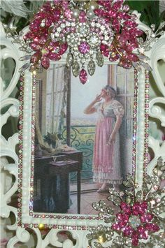 Beautiful Bejeweled Pink Victorian Frame Weiss Jewels From The Collection  By Debbie Del Rosario-Weiss, Juliana,brush, comb, vintage, Clock,tray, mirror, perfume, antique, vintage, victorian, Sparkle,
