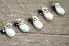 Pearl Necklaces for Bridesmaids Beach Wedding by LRoseDesigns