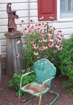 "Be on the lookout for ""rusty junk"" at yard and garage sales, barn sales or thrift stores. Another great time to look for treasures is during Spring clean-up when people throw their unwanted items on the curb! Just look at this cute little child size chair all worn and rusty...a perfect addition to this prim garden!"