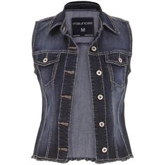 maurices Denim Vest, Women's, Vest ($29) ❤ liked on Polyvore featuring outerwear, vests, jackets, tops, denim, maurices, vest waistcoat, denim vest and denim waistcoat