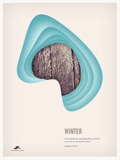 A set of four posters depicting the seasons.