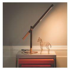 POISE Walnut and copper LED desk lamp
