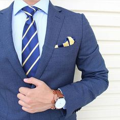 Navy Blue with Yellow Stripes Necktie What do you think about this look by #OTAA ? The use of color looks pretty on point!