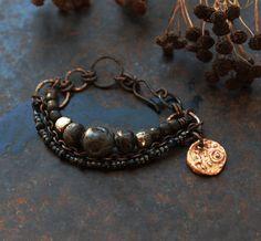 Anglo Saxon coin bracelet black triple bracelet rustic by solekoru