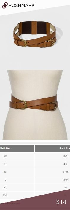 Women's Double Crossed Straps Stretch Belt #71-25 Brown faux-leather belt with double straps offers standout style Worn, gold-finished tongue buckles gives a hint of classic style Elastic panels on the back create a customized, comfortable fit This brown belt features two straps that cross at the front of the waist. The products listed above have all been checked and are ready for purchase. They come from shelf-pulls and overstock inventories. This is to give you a great deals on the…