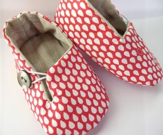 BusterBooKids baby shoes made with Umbrella Prints Kimono Red Raindrops quilter's cotton