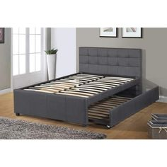 Best Quality Furniture Full Upholstered Panel Bed with Twin Trundle Bed (Teen/Child - Fabric - Grey), Kids Unisex, Gray Full Platform Bed, Upholstered Platform Bed, Queen Trundle Bed, Plataform Bed, Bed Slats, Teen Bedding, Under Bed Storage, Quality Furniture, Bed Design
