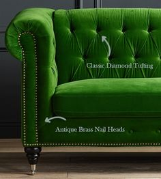 Classic tufting and nailhead trim on emerald green sofa                                                                                                                                                                                 More