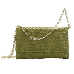 "Olive Crossbody Clutch Faux leather fashion woven envelope clutch in olive featuring a detachable crossbody strap with a magnetic closure. Approximately 9.5"" x 1"" x 5.5"" Bags Crossbody Bags"