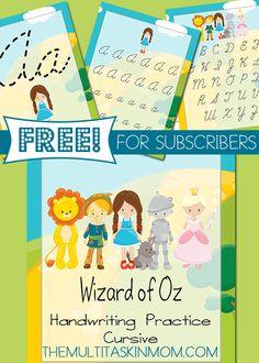 Wizard of Oz Handwriting Practice FREEBIE Cursive Edition