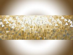"""Early Spring by QIQIGallery 36""""x12"""" Original Painting Abstract yellow painting home decor wall art narrow art gray flowers palette knife Canvas wall hangings"""