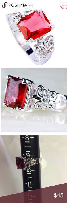 Selling this 6.25 ct Ruby Spinel, & White Topaz Sterling Ring on Poshmark! My username is: whitney237. #shopmycloset #poshmark #fashion #shopping #style #forsale #Jewelry
