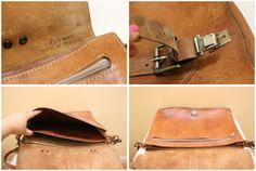Vintage Tan Color  Leather  Briefcase // Cross Body by grassdoll, $85.00