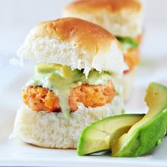 Salmon sliders with Tangy Avocado Sauce - a great alternative to your traditional burger! #foodgawker
