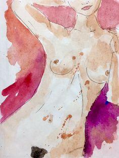 Nude #1 #watercolorartist #mumbai #nealecastelinoart #watercolor #nealecastelino #letscreateart #watercolors #amateur #sketch #shades #watercolorpainting #colors #graphic #model #portrait #art #painting #freehand #visualart  #arts #india #watercolors #nude #female #naked #nudeart #nuderange #nudebody