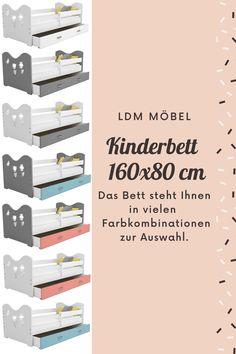 Das #Bett B2 160x80 steht Ihnen in vielen Farbkombinationen zur Auswahl. Welches Modell würdet ihr wählen? Abmessungen: >> Gesamtlänge: 164 cm >> Die Gesamthöhe der Platten: 62 cm >> Gesamtbreite: 85 cm >> Dicke der Stützelemente: 2,5 cm >> die Höhe von dem Boden bis den Grund des Bettes: ca.19 cm #Bett #Babybett #Kinderbett #Jugendbett Betta, Color Combinations, Cabinet Drawers, Floor, Betta Fish