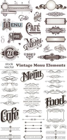 "The middle ""menu"" under ""cafe"" - I like the flourishes on the M here, with the swirls through the letters. Menu Design, Logo Design, Graphic Design, Design Design, Menu Board Design, Vintage Menu, Vintage Labels, Vintage Typography, Typography Design"