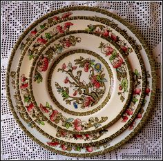 Johnson Brothers' famous Indian Tree pattern plates circa 1940 created by Coalport China in 1801 used for creating three tier handmade cake stand on sale at Etsy Posh&Seductive boutique store priced at £42.50 https://www.etsy.com/listing/270199075/johnson-brothers-three-tier-handmade?ref=shop_home_active_2