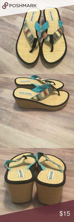 Steve Madden Pastel stripe platforms. Comfy! Great condition. Steve Madden Shoes Sandals