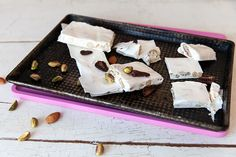 to make nougat Keen to take a stab at making your own nougat? It's easier than you think and happens to make a great gift for mums.Keen to take a stab at making your own nougat? It's easier than you think and happens to make a great gift for mums. Honey Recipes, Fudge Recipes, Sweet Recipes, Nougat Recipe, Yummy Treats, Sweet Treats, Vintage Baking, Gluten Free Baking, Confectionery