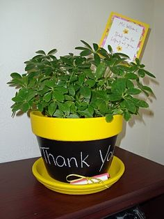 Love this idea - chalkboard-painted planter - Teacher gift? Get Well gift? Mothers'/Fathers' Day gift? Fill with herbs for a gift that keeps giving