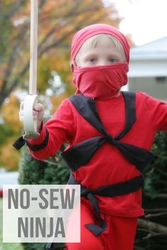 No Sew {and nearly FREE!} Ninja or Ninjago costume. Great last-minute, easy costume idea for kids or adults!