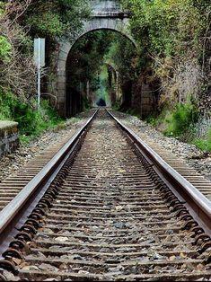 Train Tunnel, Galicia, Spain photo via debbie By Train, Train Tracks, Train Tunnel, Old Steam Train, Abandoned Train, Old Trains, Train Pictures, Train Journey, Jolie Photo