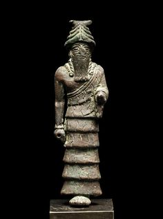 """A Sumerian bronze figure of Nannar, Circa early 2nd Millennium BC Nannar (or Nanna), the god of the moon, is a Sumerian deity, the son of Enlil and Ninlil. He eventually became identified with the Semitic god Sin. The two chief seats of Nannar's worship were Ur in the south of Mesopotamia and Harran in the north. He is commonly designated as En-zu, which means """"lord of wisdom"""". During the period that Ur exercised a large measure of supremacy over the Euphrates valley (c. 2600-2400 BC)…"""