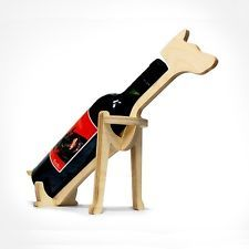Doberman Dog Animal Bone Wine Rack Natural Design Wooden Table-top Bottle Holder