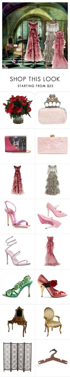 """""""Roses for Toastes"""" by matadoraa ❤ liked on Polyvore featuring Romeo + Juliet Couture, Alexander McQueen, Jimmy Choo, Edie Parker, Marchesa, Giuseppe Zanotti, Gucci, René Caovilla, Manolo Blahnik and Prada"""