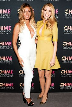 Beyonce and Blake Lively join forces at the Chime for Change cocktail event held at the Gucci store in NYC June 3