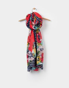 Harmony French Navy Posy Stripe Oversized Printed Scarf , Size One Size | Joules US