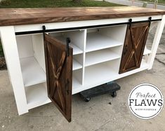 Items similar to Farmhouse Tv Stand, Farmhouse Tv Console, Barn Door Tv Stand, Faux Reclaimed Wood Tv Stand on Etsy Barn Door Tv Console, Barn Door Tables, Barn Door Cabinet, Rustic Tv Console, Barn Door Tv Stand, Tv Stand Cabinet, Barn Doors, Tv Wall Cabinets, Diy Cabinets